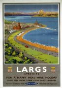 Largs, Ayrshire. Vintage BR Travel Poster by Montague Birrell Black